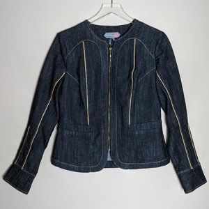 Fitted Blue Jean Jacket with Metallic Gold Trim